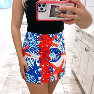 lilly pulitzer pink and blue patterned mini skirt
